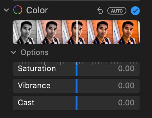 Ділянка «Колір» панелі «Коригування» з повзунками «Насиченість», «Резонанс» і «Відтінок».