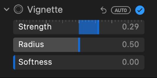 Елементи керування «Віньєтка» на панелі «Коригування» з повзунками «Сила», «Радіус» і «Спадання».
