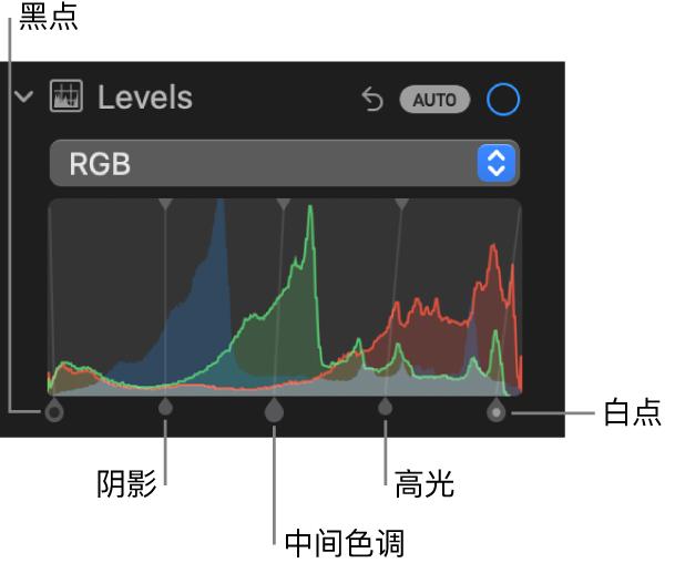 """""""调整""""面板中的""""色阶""""控制,显示 RGB 直方图及下方的控制柄,包括(从左到右)黑点、阴影、中间色调、高光和白点。"""
