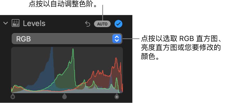 """""""调整""""面板中的""""色阶""""控制,包含右上方的""""自动""""按钮和下方的 RGB 直方图。"""