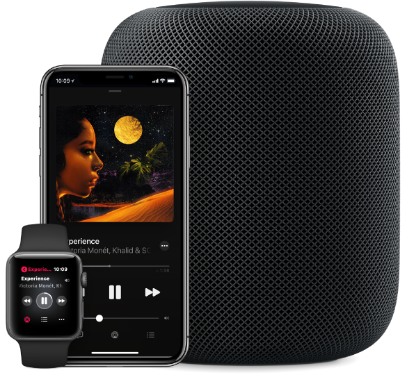 Darstellung eines Musiktitels auf Apple Music, der auf einer Apple Watch, einem iPhone und einem HomePod abgespielt wird