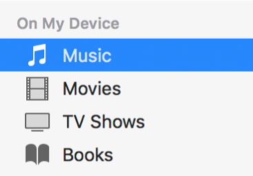The On My Device section of the sidebar showing Music selected.