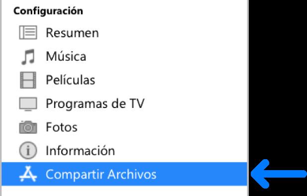 """En la configuración del dispositivo haz clic en """"Compartir archivos"""" para transferir archivos entre tu equipo y tu dispositivo."""