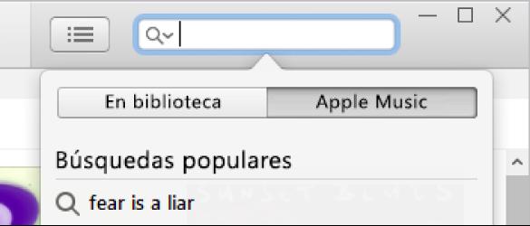 El campo de búsqueda de AppleMusic.