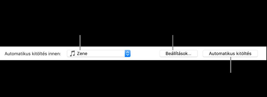 A Zene panel alján található automatikus kitöltési lehetőségek. Bal oldalon található az Automatikus kitöltés innen, ahol megadhatja, hogy egy lejátszási listából vagy a teljes könyvtárából szeretne dalokat hozzáadni. A jobb szélén két gomb található: a Beállítások, mellyel az Automatikus kitöltés különféle lehetőségei módosíthatók, és az Automatikus kitöltés. Az Automatikus kitöltés lehetőségre kattintva az eszköz a feltételeknek megfelelő zeneszámokkal telik meg.