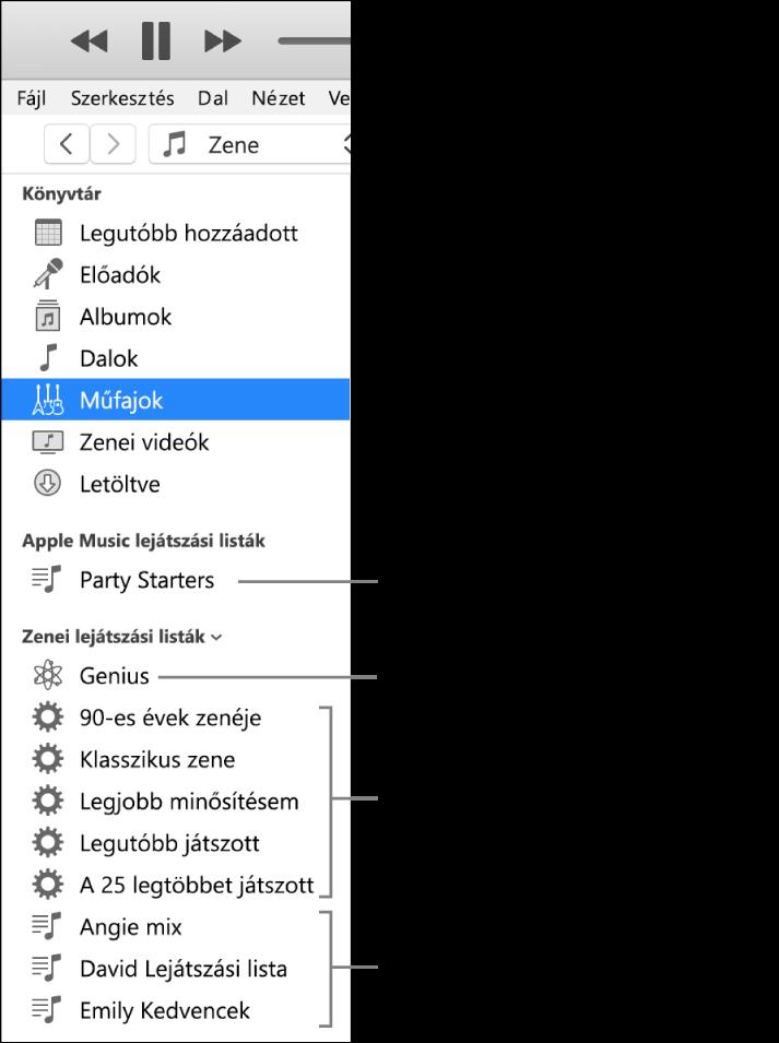 Különböző típusú lejátszási listákat megjelenítő iTunes oldalsáv. Apple Music (csak előfizetők), Genius, Intelligens és általános lejátszási listák.
