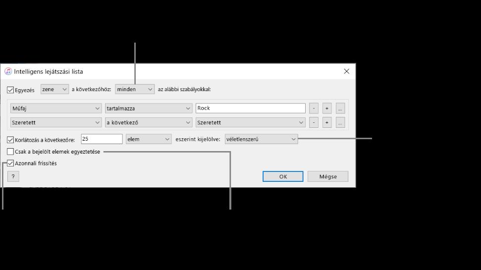 Az Intelligens lejátszási lista ablak: Válassza ki a bal felső sarokban az Egyezés lehetőséget, majd adja meg a lejátszási lista feltételeit (például a műfajt vagy a kedvelést). Adjon hozzá vagy távolítson el szabályokat; ha több szabály is van, adja meg, hogy csak az egyik vagy az összes feltételnek kell-e teljesülnie. Az ablak alsó részében különféle lehetőségeket választhat ki – például korlátozhatja a lejátszási lista méretét vagy időtartamát, megadhatja csak ellenőrzött zeneszámok szerepeltetését, illetve frissíttetheti az iTunesszal a lejátszási listát, ha a könyvtárban lévő elemek megváltoznak.