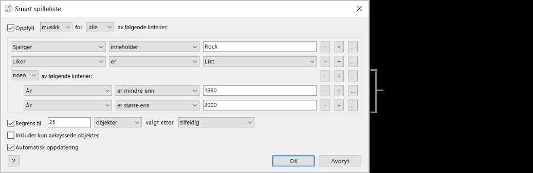 Smart spilleliste-vinduet: Bruk Nest-knappen til høyre for å opprette flere nestede regler for å få mer spesifikke resultater.
