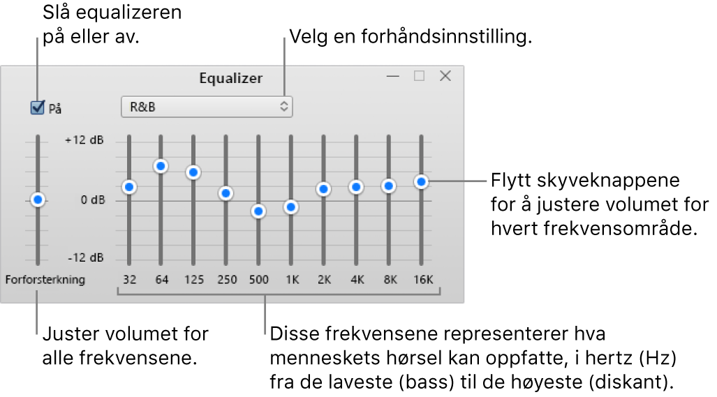 Equalizer-vinduet: Avkrysningsruten for å slå på iTunes-equalizeren er øverst til venstre. Ved siden av den er lokalmenyen med equalizerforhåndsinnstillinger. Helt til venstre kan du justere det generelle volumnivået for frekvenser med forforsterkeren. Under equalizerforhåndsinnstillingene kan du justere lydnivået for forskjellige frekvensområder som representerer det menneskelige hørselsspektrumet fra lavest til høyest.