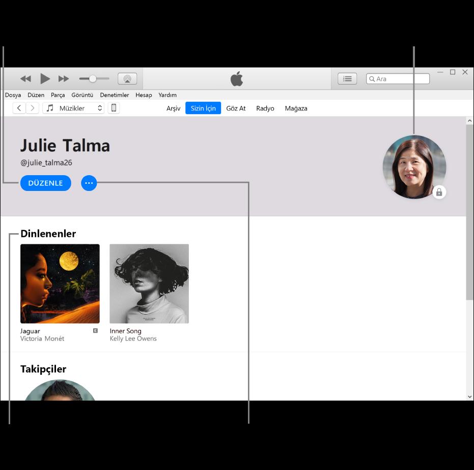 Apple Music'te profil sayfası: Sol üst köşede adınızın altında, profilinizi veya fotoğrafınızı düzenlemek ve sizi takip edebilecekleri seçmek için Düzenle'yi tıklayın. Düzenle'nin sağ tarafında, bir sorun bildirmek veya profilinizi paylaşmak için Daha Fazla düğmesini tıklayın. Sağ üst köşede Hesabım düğmesi bulunur. Dinlenenler başlığının altında dinlediğiniz tüm albümler bulunur ve dinlediğiniz istasyonları gizlemek, listeleri paylaşmak ve daha birçok şey yapmak için Daha Fazla düğmesini tıklayabilirsiniz.