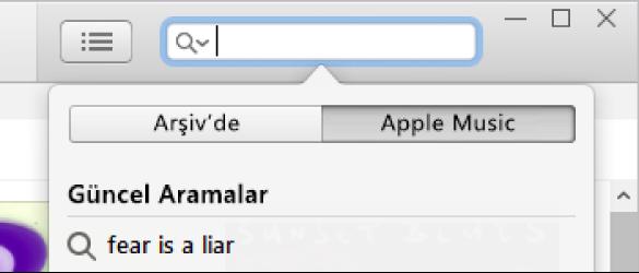 Apple Music için arama alanı.