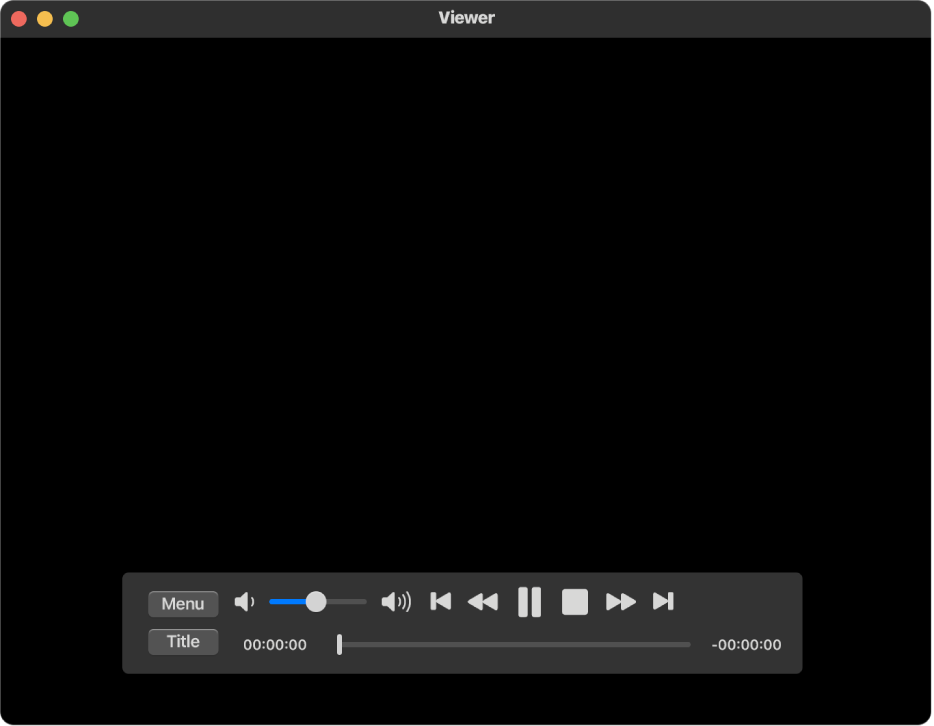 نافذة تطبيق DVDPlayer وعناصر التحكم في التشغيل، ويظهر بها شريط تمرير مستوى الصوت في الزاوية العلوية اليمنى والمخطط الزمني في الأسفل. اسحب مقبض التقدم في المخطط الزمني للانتقال إلى موضع مختلف في الفيلم.