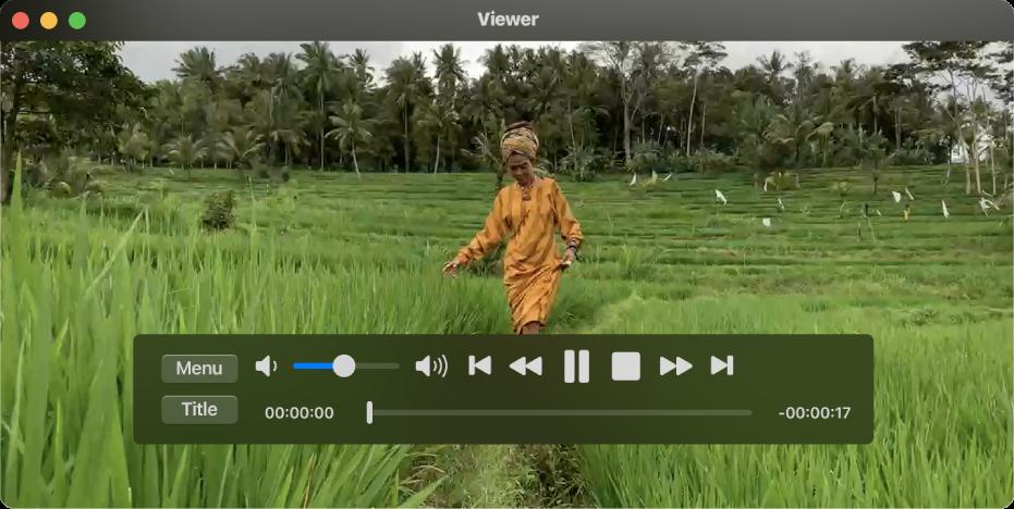 نافذة DVDPlayer مع تشغيل فيلم DVD.