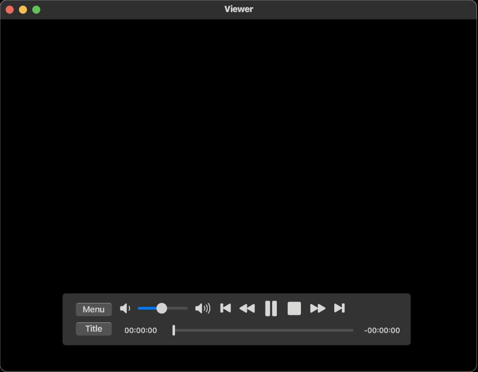 「DVDプレーヤー」ウインドウと再生コントロール。左上隅の領域に音量スライダがあり、下部にタイムラインがあります。タイムラインでプログレスハンドルをドラッグすると、ムービーの別の位置に移動します。