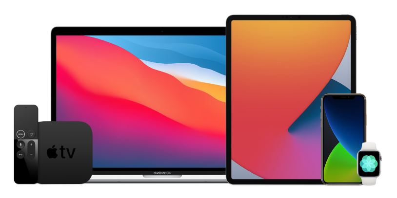 A MacBook Pro, an iPad Pro, an iPhone 12 Pro, an Apple TV and an Apple Watch.