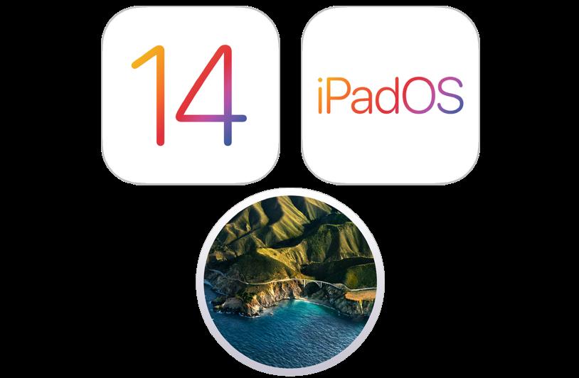 Íconos que representan los sistemas operativos del iPhone, iPod touch, Mac y iPad.