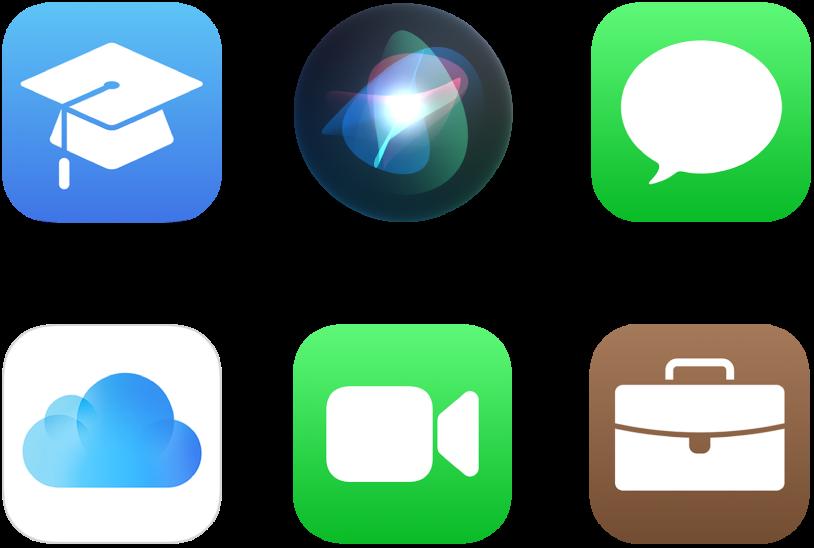 Symboler for seks Apple-tjenester: Apple School Manager, Siri, iMessage, iCloud, FaceTime og Apple Business Manager.