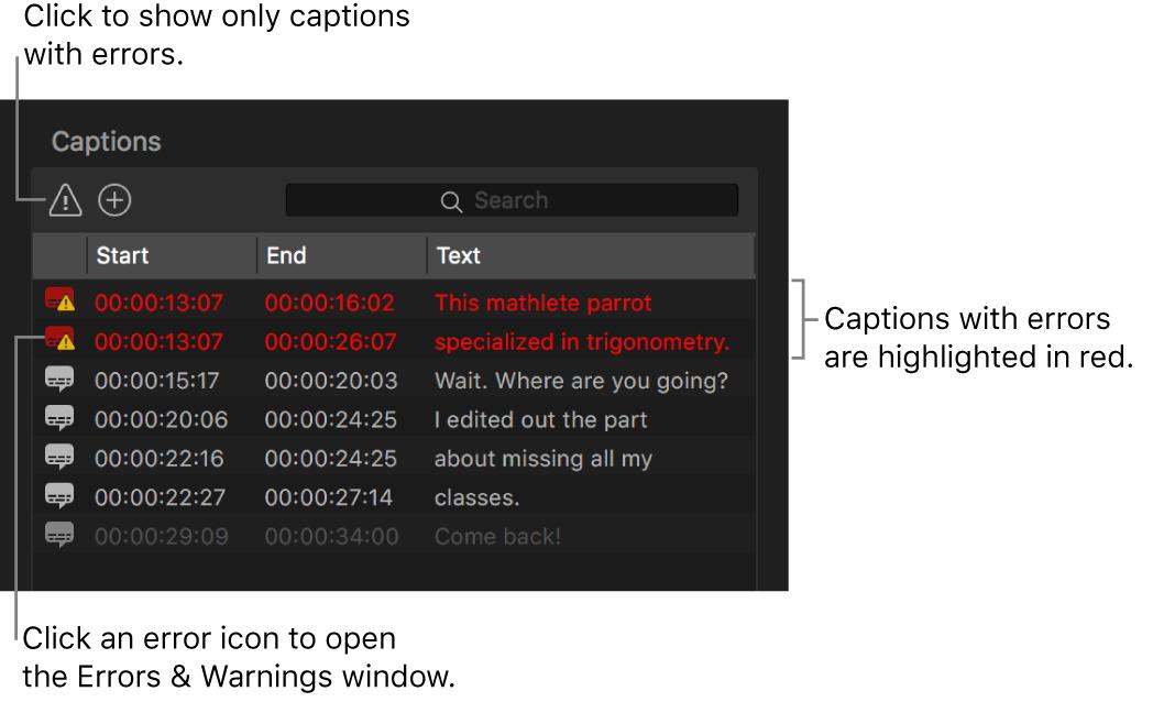 Liste der Untertitel mit rot hervorgehobenen, fehlerhaften Untertiteln