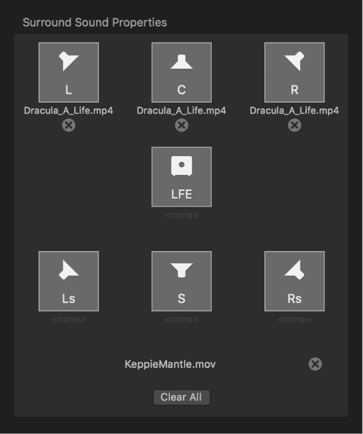 Informationsfenster mit Surround Sound-Eigenschaften