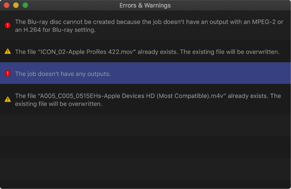 Errors & Warnings window