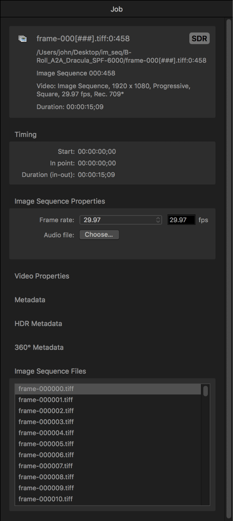 Job inspector showing properties for image sequence