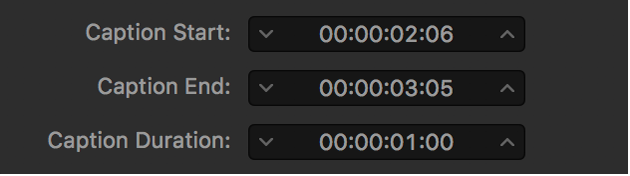 Caption timing fields in the Closed Captions inspector or Subtitles inspector