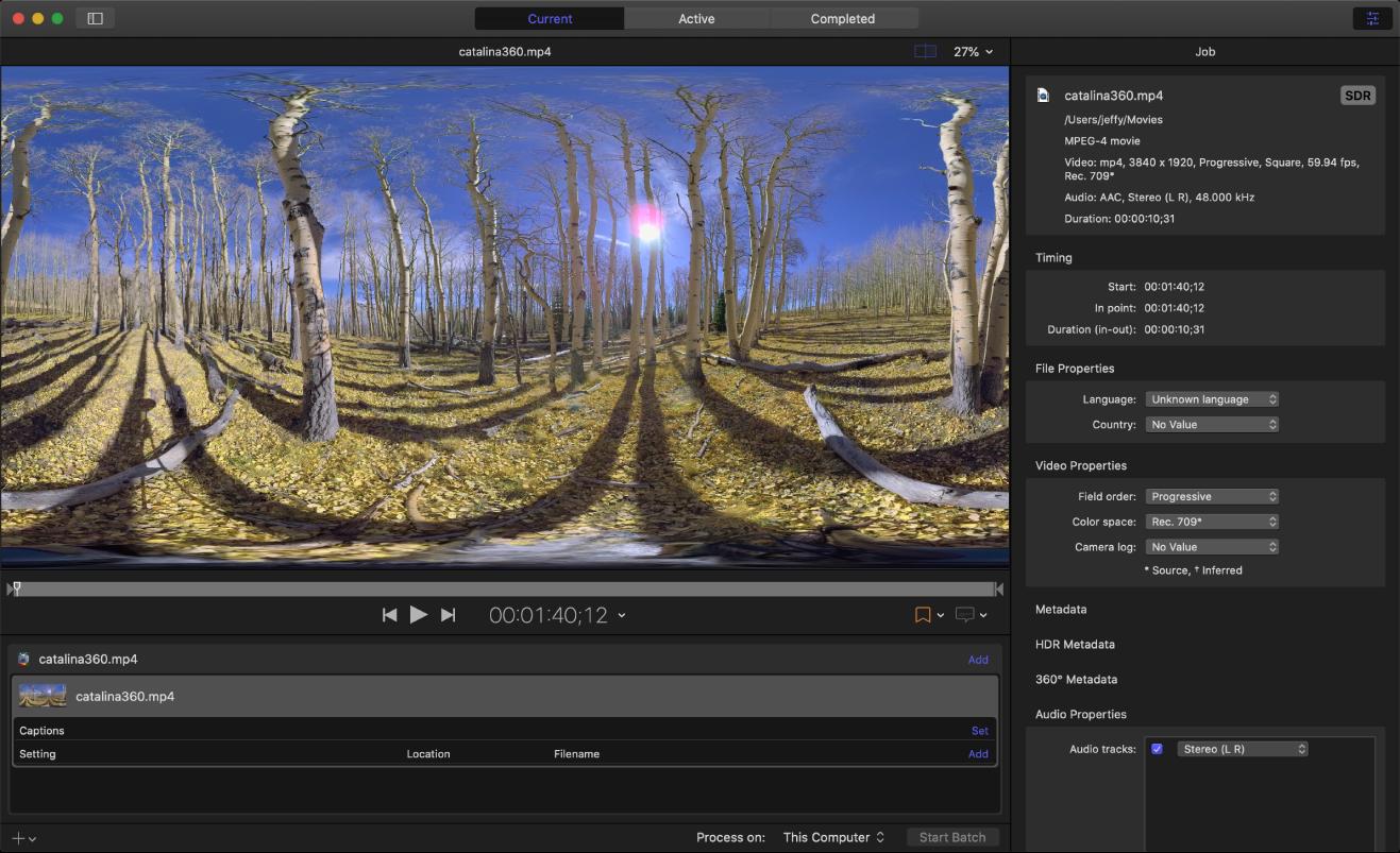 Ventana principal de Compressor con un archivo de origen de vídeo en 360º.
