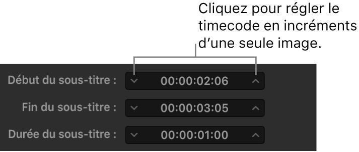 Champs de synchronisation des sous-titres montrant le timecode et les flèches de déplacement entre les images