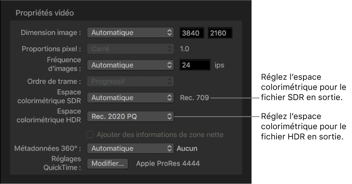 Vidéo propriétés dans l'inspecteur vidéo affichant le menu local de l'espace colorimétrique SDR et son homologue HDR, où vous pouvez définir l'espace colorimétrique des fichiers en sortie.