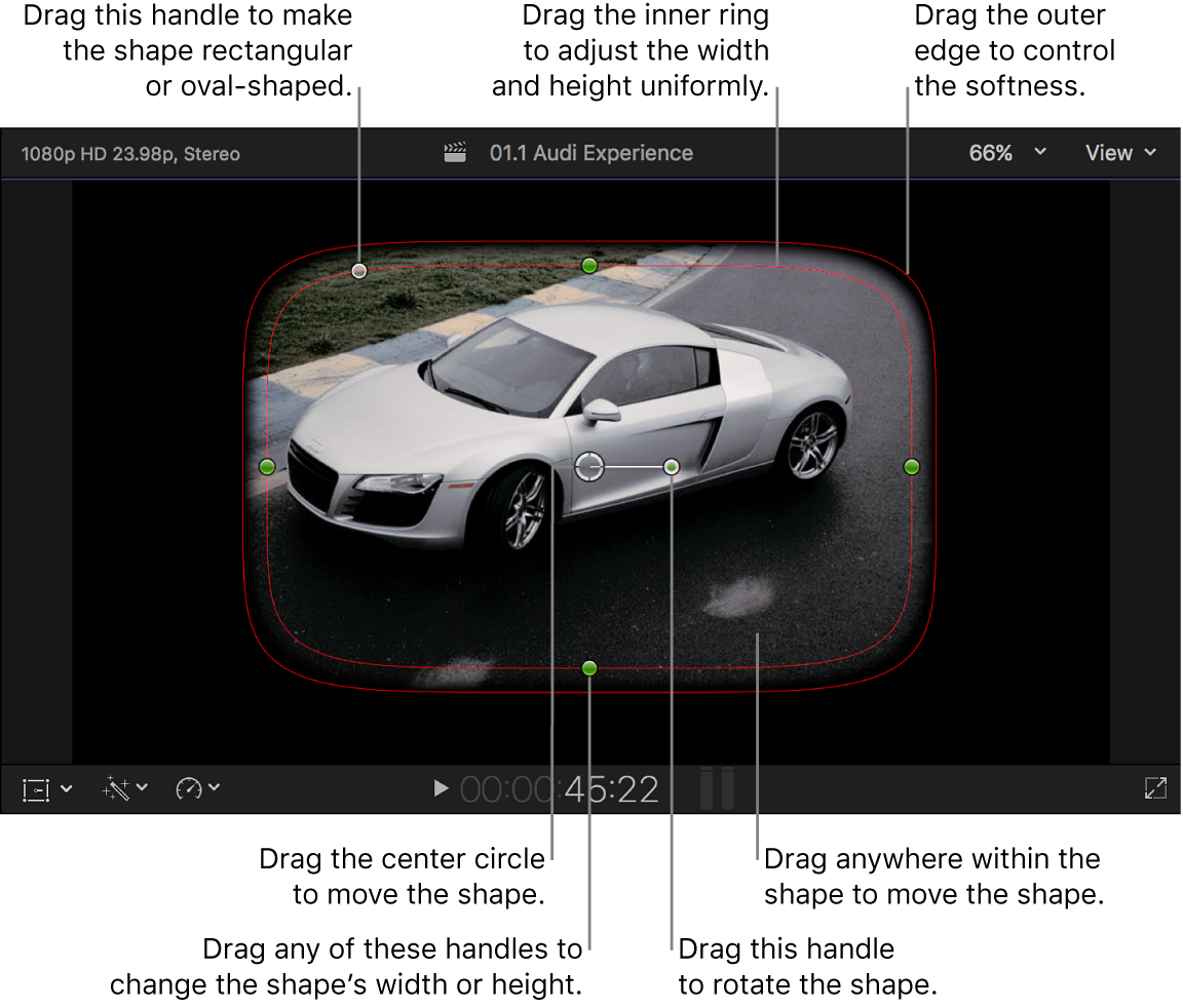 Die Standardformmaske und On-Screen-Steuerelemente im Viewer