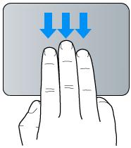 Geste für Bewegen mit drei Fingern