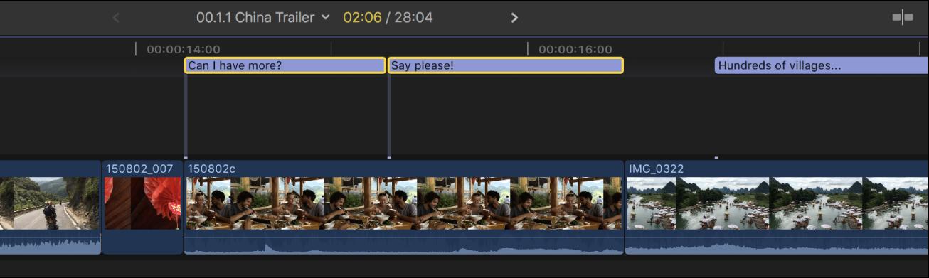 Die Timeline mit zwei Untertitelclips nebeneinander, die sich nicht mehr überlagern und daher nicht mehr rot angezeigt werden