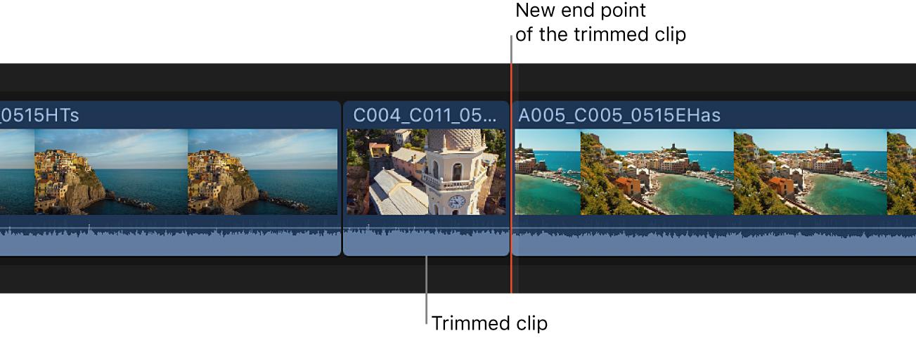 Ein auf die Skimmer-Position in der Timeline getrimmter Clip