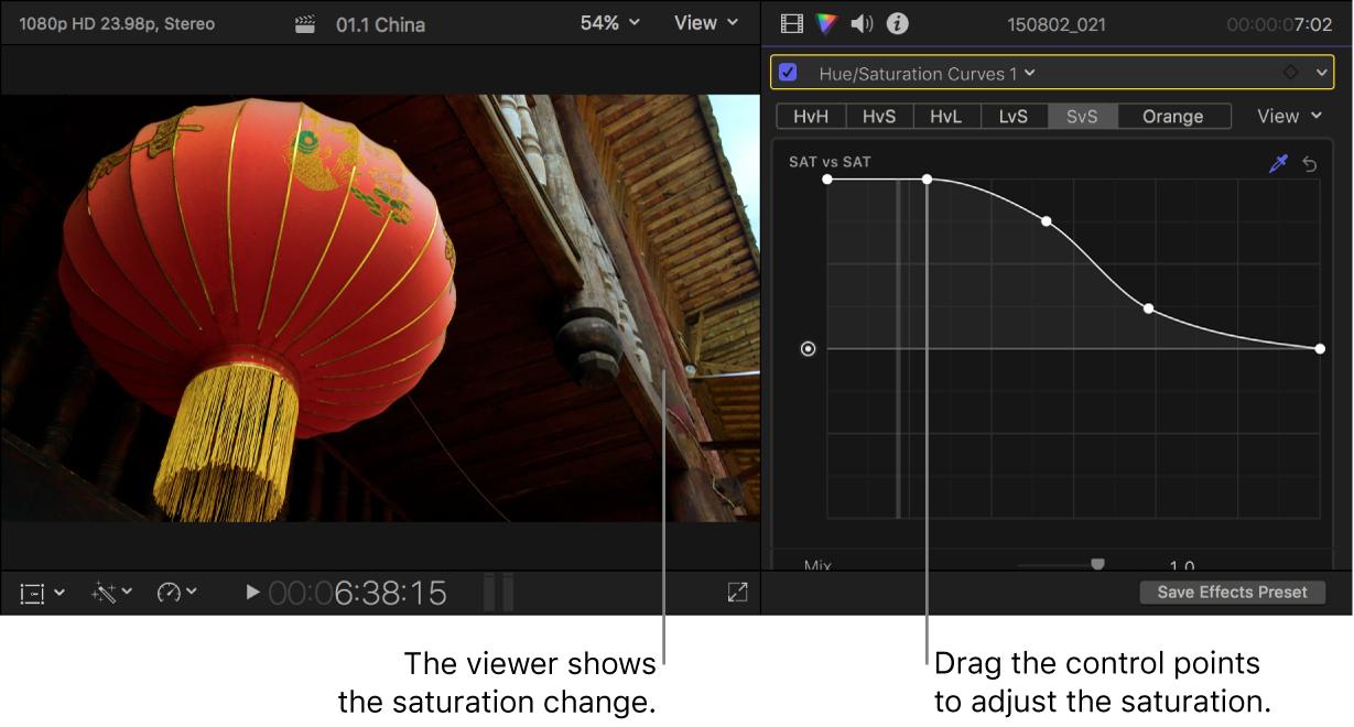"""Der Viewer links mit der geänderten Sättigung und das Informationsfenster """"Farbe"""" rechts mit angepassten Steuerpunkten auf der Kurve """"Luma vs. Sättigung"""""""