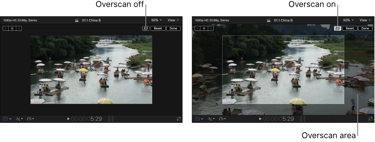 """Rechts befindet sich der Viewer mit aktivierter Option """"Overscan"""", in dem Teile des Bilds angezeigt werden, die sich außerhalb des Viewers befinden. Links ist der Viewer mit deaktivierter Option """"Overscan"""" zu sehen."""