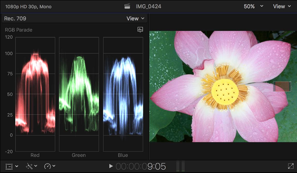 """Der Waveform-Monitor """"RGB-Parade"""" links neben dem Viewer"""