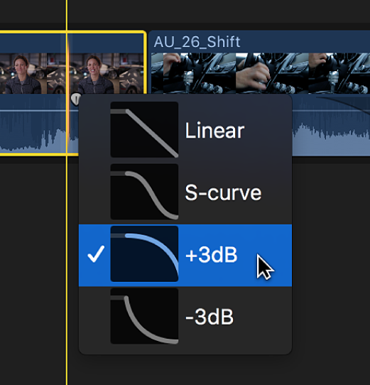 Optionen für Ein-/Ausblendungen im Kontextmenü eines Clips in der Timeline