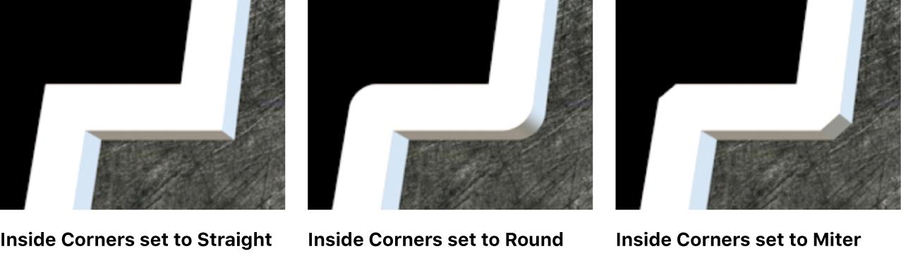 """Drei Vorkommen von 3D-Text im Viewer, wobei """"Innere Ecken"""" auf """"Gerade"""", """"Rund"""" und """"Gehrung"""" eingestellt ist"""