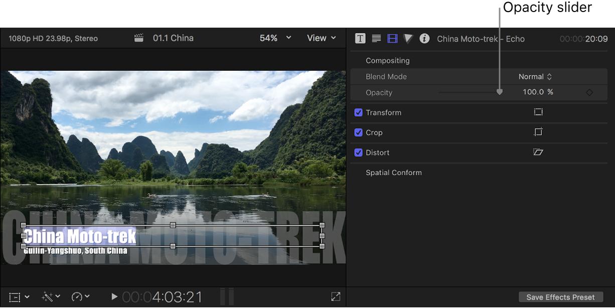 """Titeltext im Viewer auf der linken Seite und Informationsfenster """"Video"""" mit Regler """"Deckkraft"""" auf der rechten Seite"""