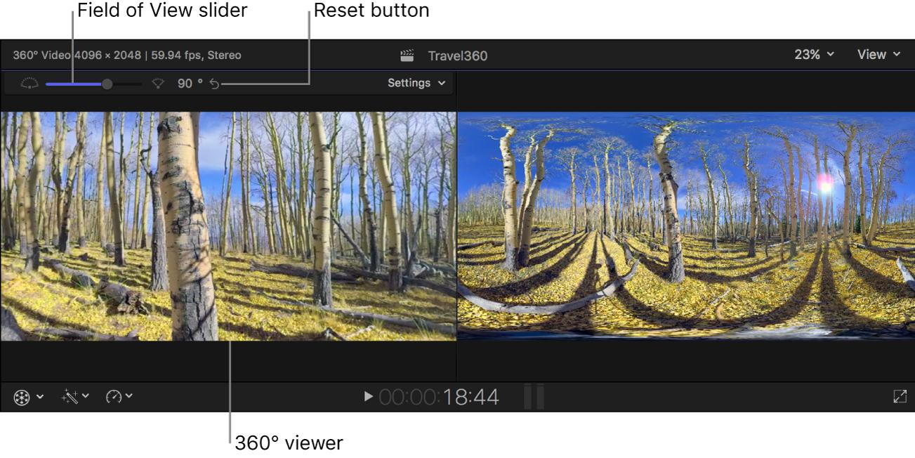"""Der Blickfeld-Schieberegler, die Taste """"Zurücksetzen"""" und das Einblendmenü """"Einstellungen"""" über dem 360°-Viewer"""