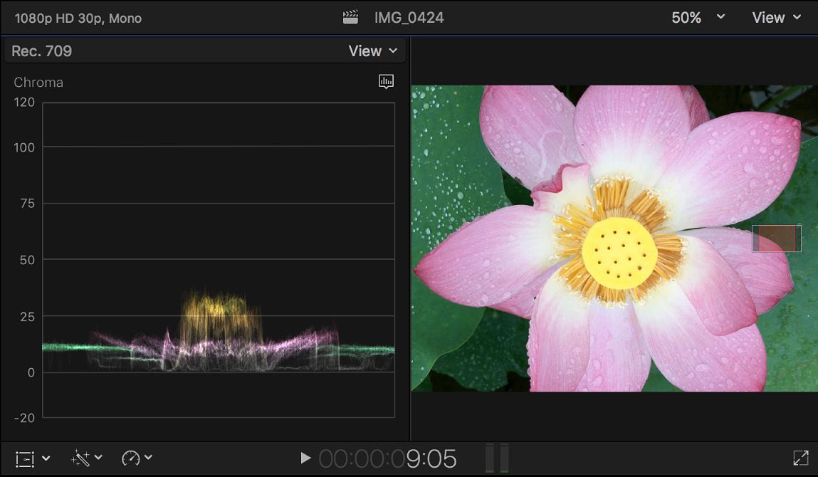 """Der Waveform-Monitor """"Chroma"""" links neben dem Viewer"""