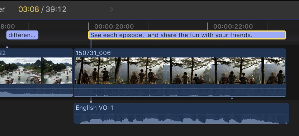 Ein einzelner zusammengefügter Untertitel in der Timeline