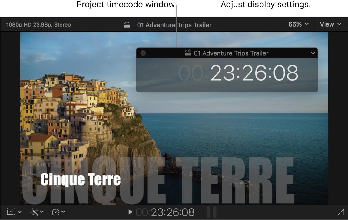 Das Projekt-Timecode-Fenster ist über dem Viewer platziert und zeigt den Projekt-Timecode an der Abspielposition.