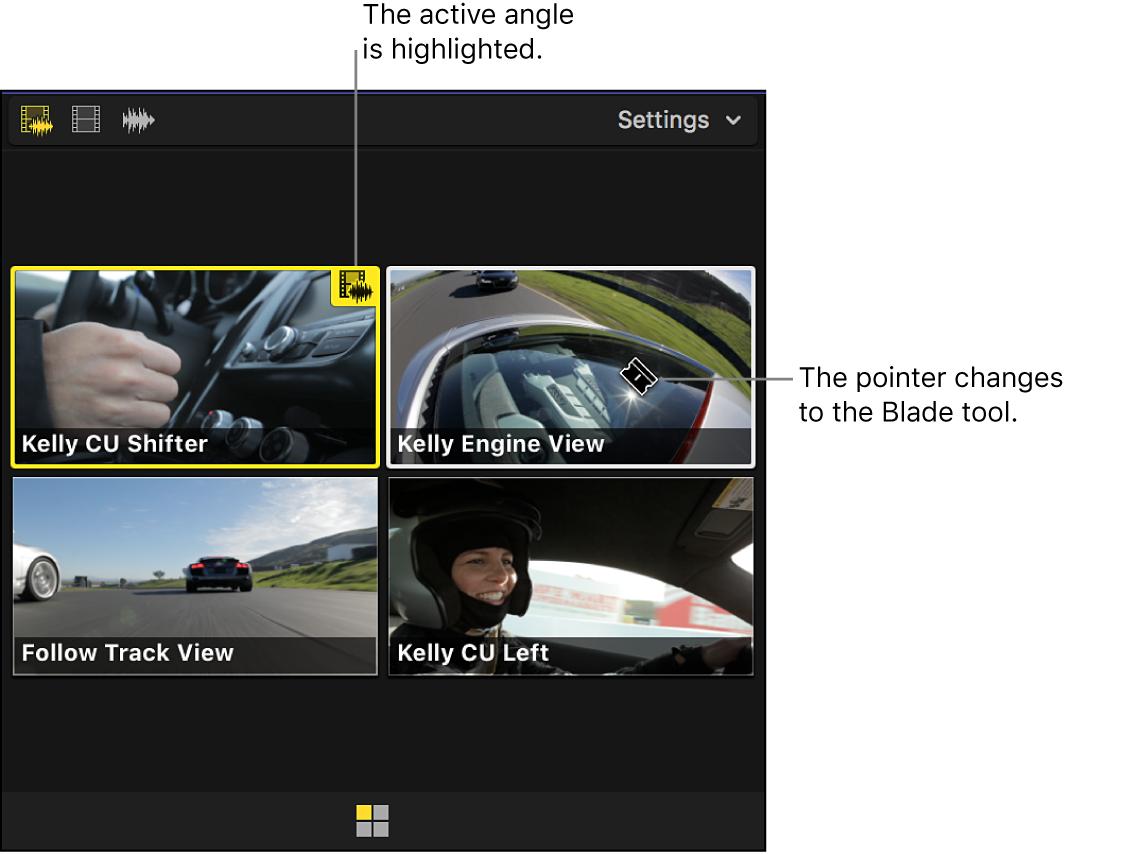 Der Kamera-Viewer mit hervorgehobener aktiver Kamera und Zeiger in Form des Schnittwerkzeugs
