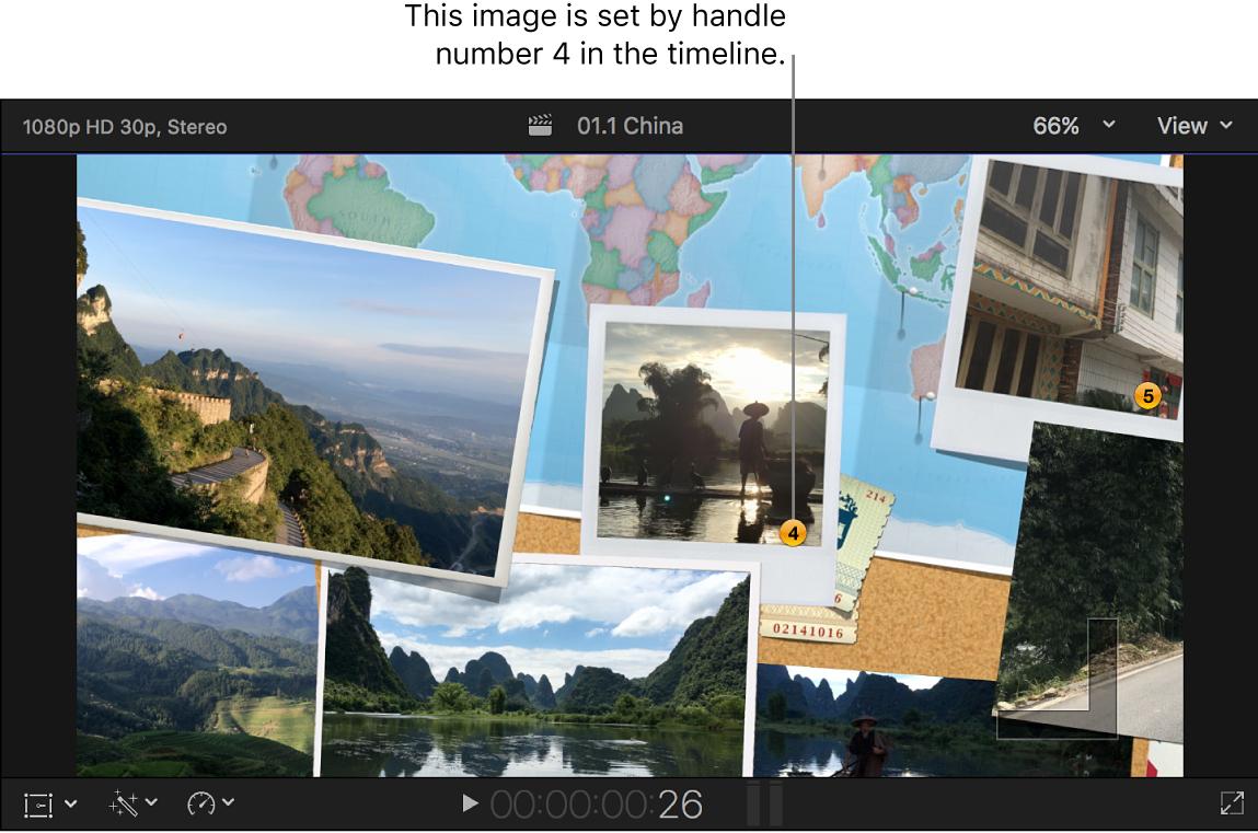Das Viewer-Fenster mit einem Übergang und nummerierten Standbildern