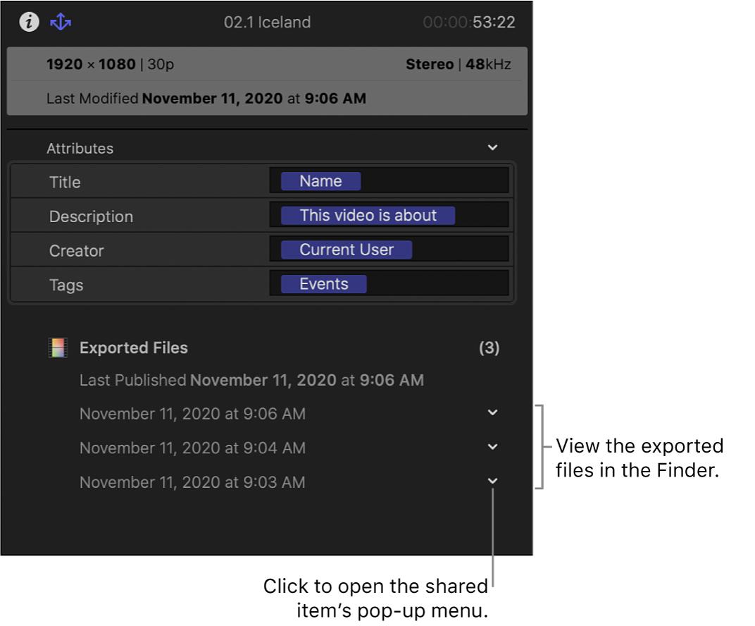 """Das Informationsfenster """"Teilen"""" mit Informationen darüber, wo ein ausgewähltes Objekt geteilt wurde"""