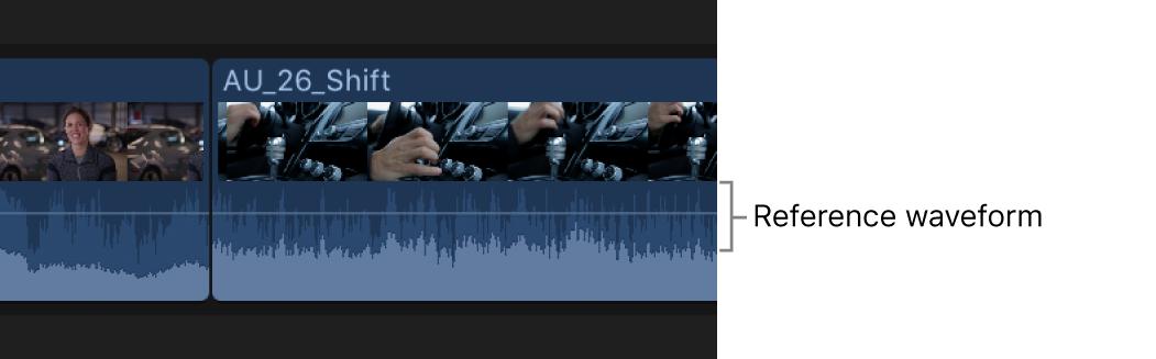 Ein Clip in der Timeline mit eingeblendeter Referenz-Wellenform