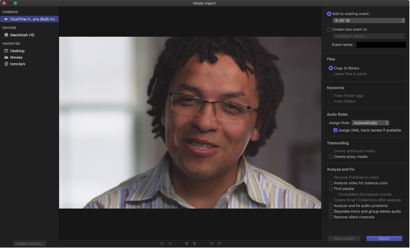 """Das Fenster """"Medien importieren"""" mit Live-Videobild von der ausgewählten Kamera"""