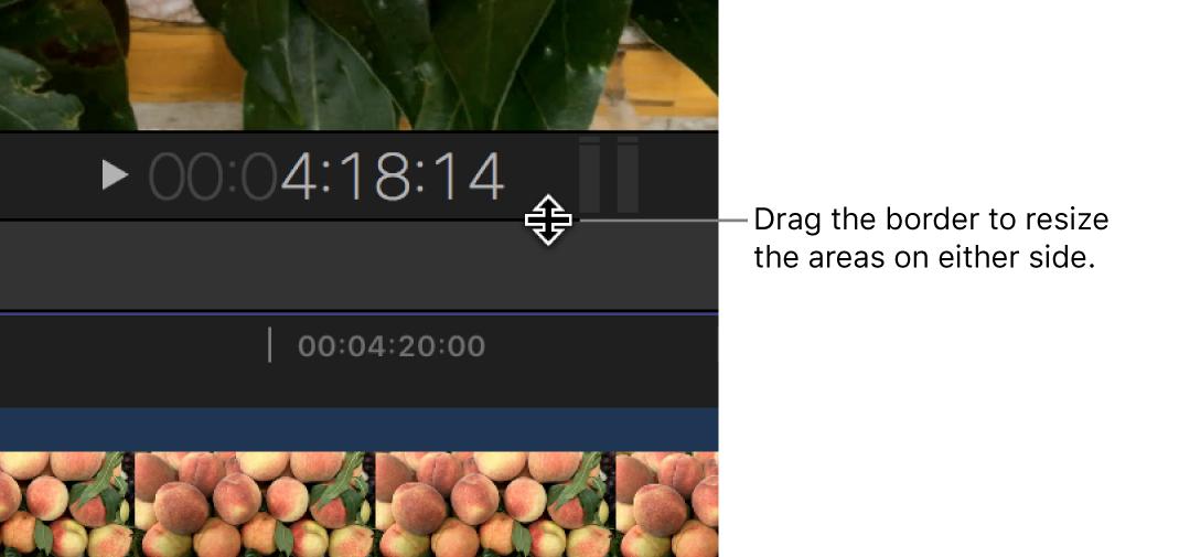 Die Begrenzung zwischen Viewer und Timeline