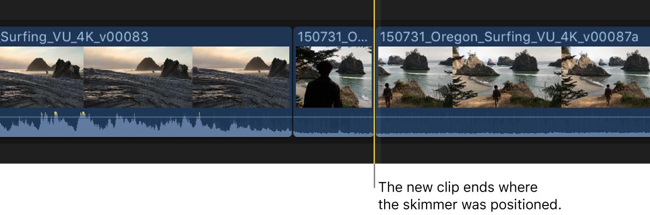 Der angezeigte neue Clip wird zur Timeline hinzugefügt, mit dem Endpunkt an der Skimmer-Position